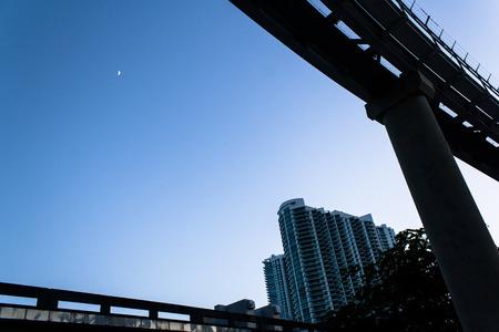 Moon between bridges Фото со стока