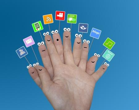 trabajo social: Medios de comunicaci�n social Foto de archivo