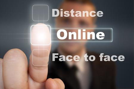 Press Online button. Reklamní fotografie
