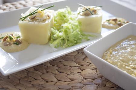 culinary tourism: Stuffed potato Stock Photo
