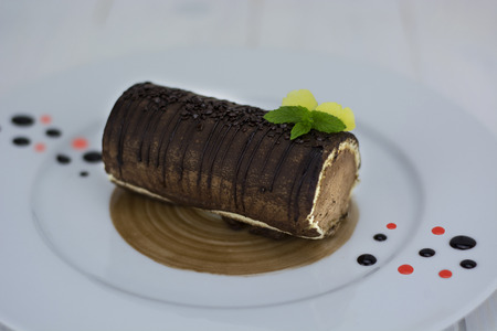 Chocolat ganache genoise Stock Photo