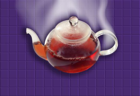 condensation: tea pot on violet kitchen counter top tiled background Stock Photo