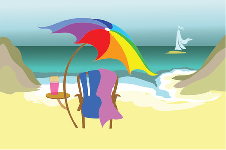 rainbow umbrella: Ocean view for one
