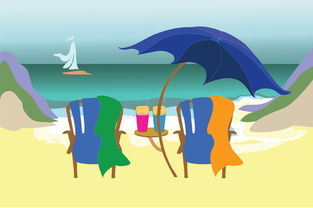 view: Tropical view for two Illustration