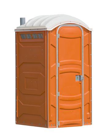 orange portable public toilet Stock Photo