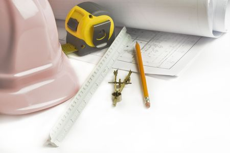 Hardcore hat for women. Architect, engineer, construction site tools. Stock Photo - 7128207
