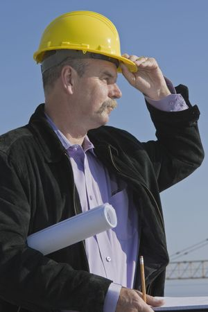 site: Architect supervising constraction site Stock Photo