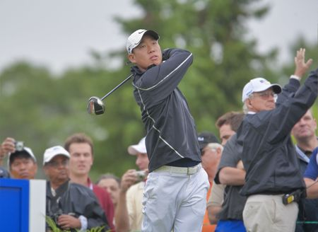 OAKVILLE, ONTARIO - JULY 22: U.S.  golfer Anthony Kim watches his drive during a pro-am event at the Canadian Open golf on July 22, 2009.
