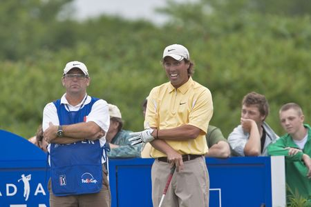 OAKVILLE, ONTARIO - JULY 22: U.S.  golfer Stephen Ames watches his drive during a pro-am event at the Canadian Open golf on July 22, 2009. Editorial use only.