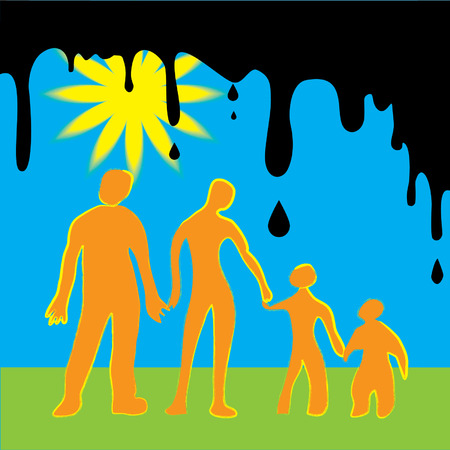 Made as kids drawing as a warning about disasters which can happened with humanity on earth. Happy family.  Ilustração