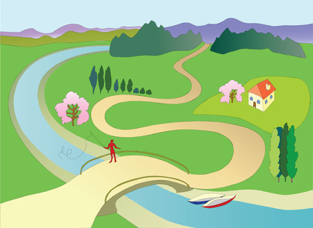 Spring landscape with fisherman on bridge. Vector