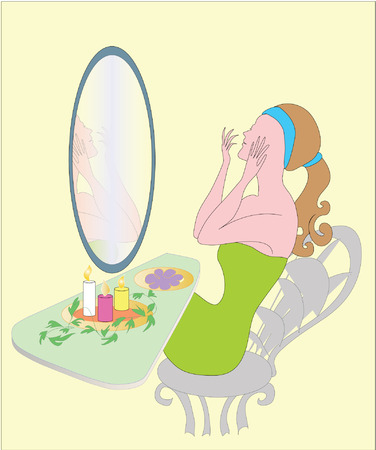 decoratio: Grooming girl in front of mirror