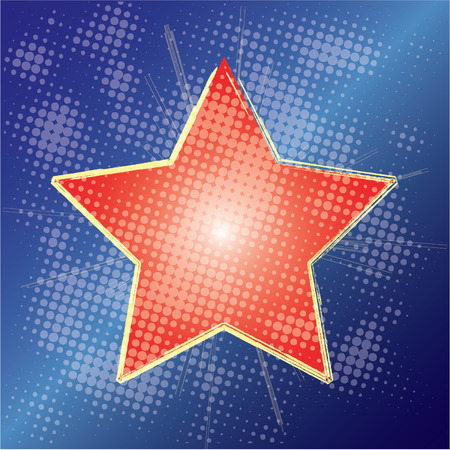 Red star shining on blue grungy dotted backdrop 向量圖像