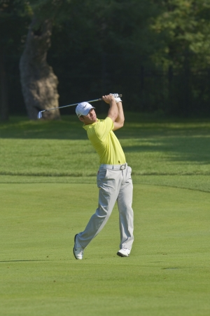 TORONTO, ONTARIO - JULY 21, 2010: English golfer Paul Casey follows his approach shot during a pro-am event at the RBC Canadian Open golf on July 21, 2010. Sajtókép