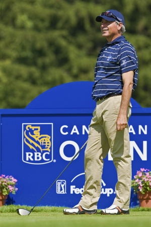 TORONTO, ONTARIO - JULY 21, 2010 : U.S. golfer Fred Couples prepares for his tee shot during a pro-am event at the RBC Canadian Open,St. Georges; Golf and Country Club, Toronto, Ontario, July 21, 2010