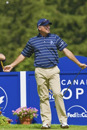 TORONTO, ONTARIO - JULY 21, 2010 : U.S. golfer Fred Couples after his tee shot during a pro-am event at the RBC Canadian Open,St. George's; Golf and Country Club, Toronto, Ontario, July 21, 2010 Stock Photo - 8822228