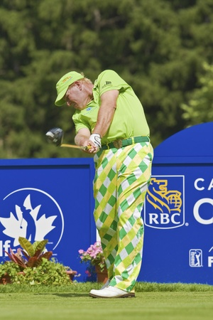 TORONTO, ONTARIO - JULY 21, 2010: US golfer John Daly, his powerful tee shot  during a pro-am event at the RBC Canadian Open golf, St. Georges; Golf and Country Club; Toronto, Ontario, July 21st; 2010