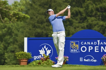 TORONTO, ONTARIO - JULY 21, 2010: US golfer Webb Simpson during a pro-am event at the RBC Canadian Open golf, St. George's; Golf and Country Club; Toronto, Ontario, July 21; 2010