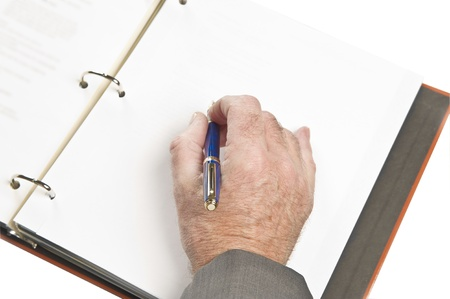 Businessman sighning contact, papers, documents. Focus on hand with pen. Stock Photo - 8916882