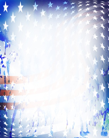 white washed: Blue, red stripes, white stars on grungy spotted blots with copy space in center. Stock Photo