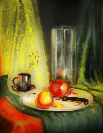 Apple en clementine op plaat met mes, vaas en koffie beker. Mijn eigen Acryl schilderij. model relese geboden. Stockfoto