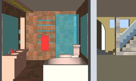Interior of bathroom in residential building, house. Architectural concept design.