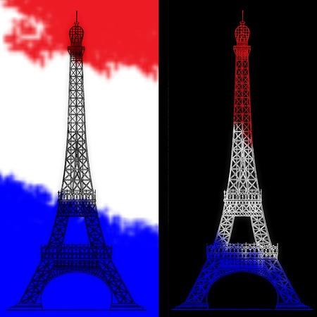 sillhouette: Eiffel tower - symbol of Paris, France. Stock Photo
