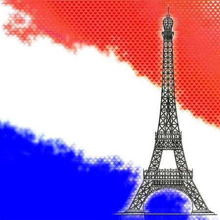 old flag: Eiffel tower, Paris, France symbol landmark. I Love Paris. Stock Photo