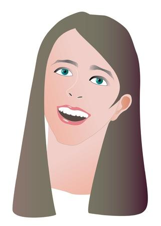 beautiful girl face illustration Vector