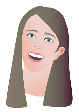 beautiful girl face illustration Illustration
