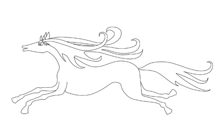 drawing: Line drawing of a running with joy horse
