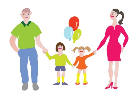 Happy family - girl, boy, wafe and husband holding their hands.Cartoon.