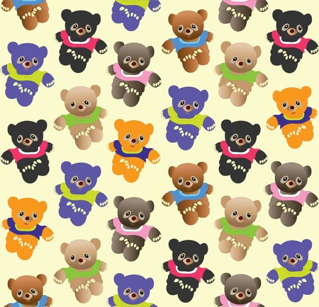 osos de peluche: Varios colores patrón transparente de ositos de peluche Vectores