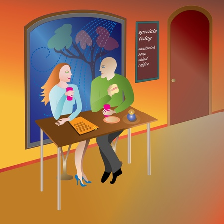 eating habits: Friends, strangers at dinner, supper, fast food restaurant Illustration