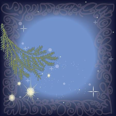 Winter theme. Sparkling christmas decoration on pine tree branch on frame of pattern. Çizim