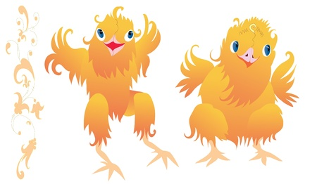 Two happy chicks dancing with spreaded tiny wings Vector