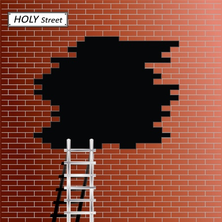 hole: Ladder at black hole in red brick wall Illustration