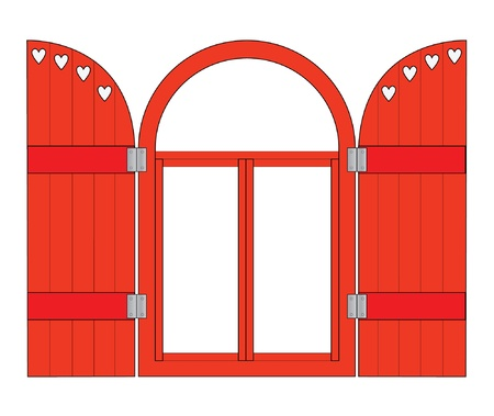 shutter: Red window frame with shutters Illustration