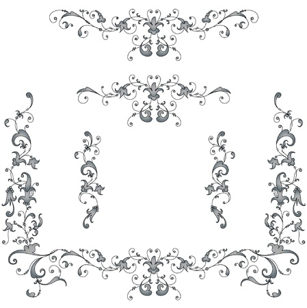Vignettes, ancient style pattern. Grey, black on white Vector