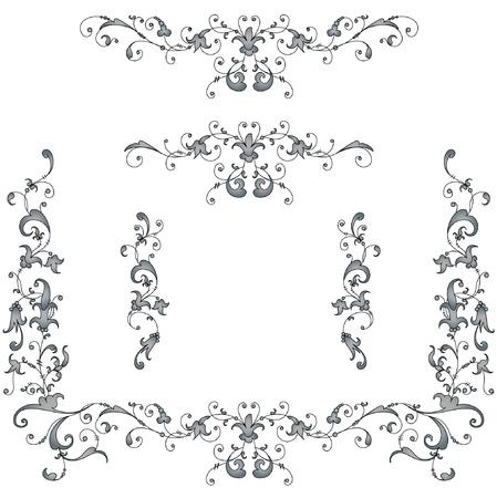 vignette: Vignettes, ancient style pattern. Grey, black on white Illustration