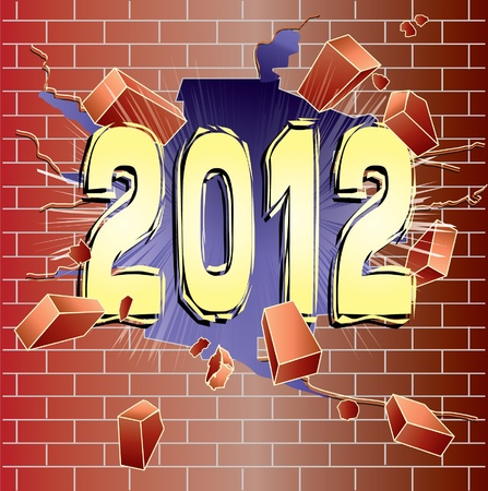 grout: New Year 2012 breaking through red brick wall Illustration