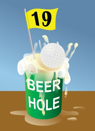 Beer 19th hole on golf course illustration. Hole-in-one. Vector