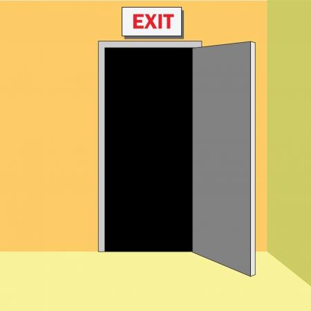 Open deur in afrit, uitgang met teken EXIT boven.