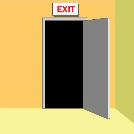 hallway: Open door into exit, egress with sign EXIT above.