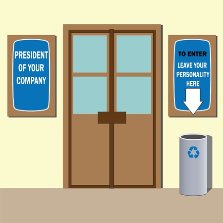 Company president office door with signs and garbage can. Humor illustration.