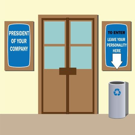 Presidente della società porta dell'ufficio di segni e di bidone della spazzatura. Umorismo illustrazione. Archivio Fotografico - 10824403