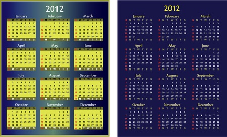 2 months: Two generic calendars for 2012 year for any occasion