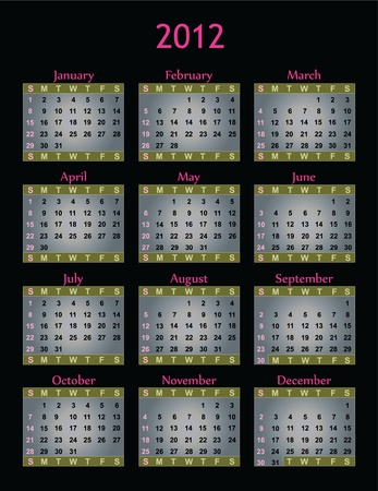 Calendar with pink on silver and black for 2012. Stok Fotoğraf - 11170080