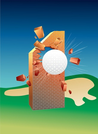 1: Hole In One. Golf. Illustration.