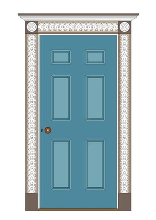 古代の内部ドア、1815年執権期間および早い 19 世紀近代塗装  イラスト・ベクター素材